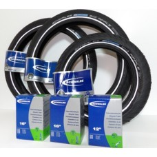 "Sinclair C5 Full Set of Schwalbe Front & Rear Tyres & Inner Tubes 1 x 12"" & 2 x 16"""